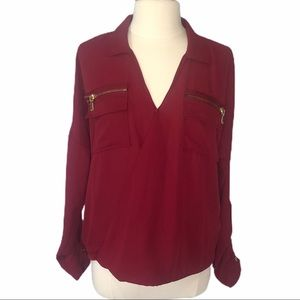 Charlotte Russe Burgundy Blouse Front Wrap Large